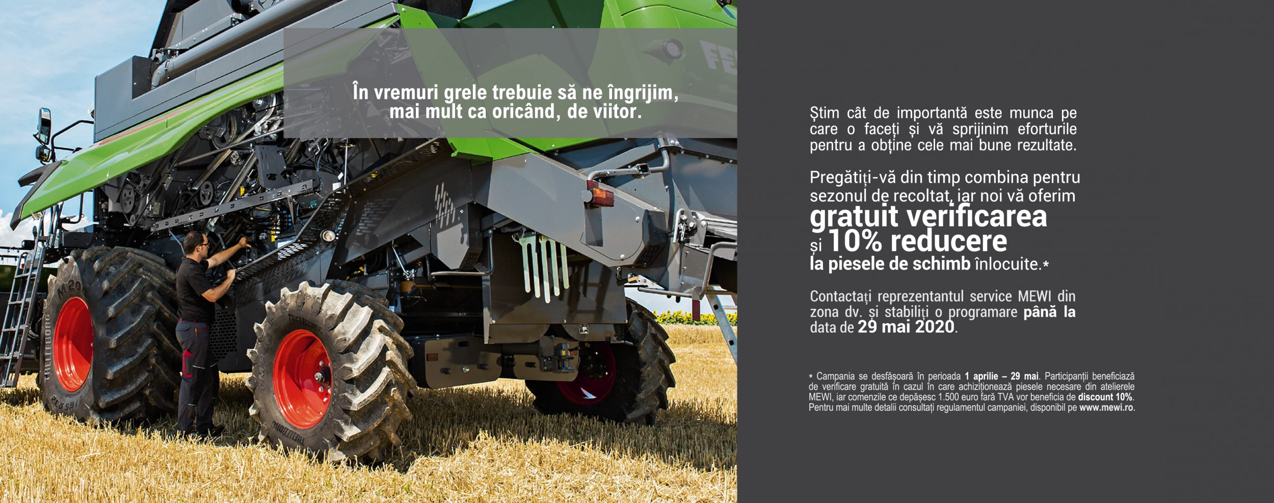 Text promotie MEWI verificare gratuita , stanga combina agricola.
